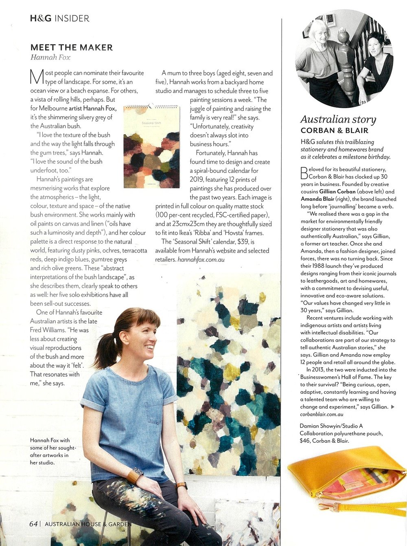 Australian House & Garden, December 2018 Issue   Studio A Collaboration with Corban & Blair featuring art by Damian Showyin.