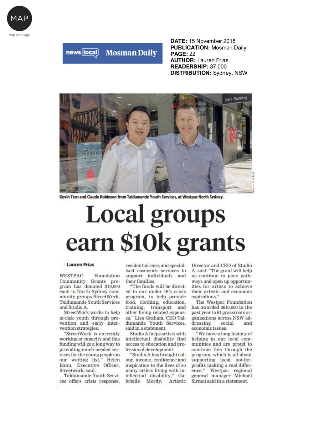 Mosman Daily, 15 November 2018   Studio A was one of three recipients of a Westpac Foundation Community Grant.