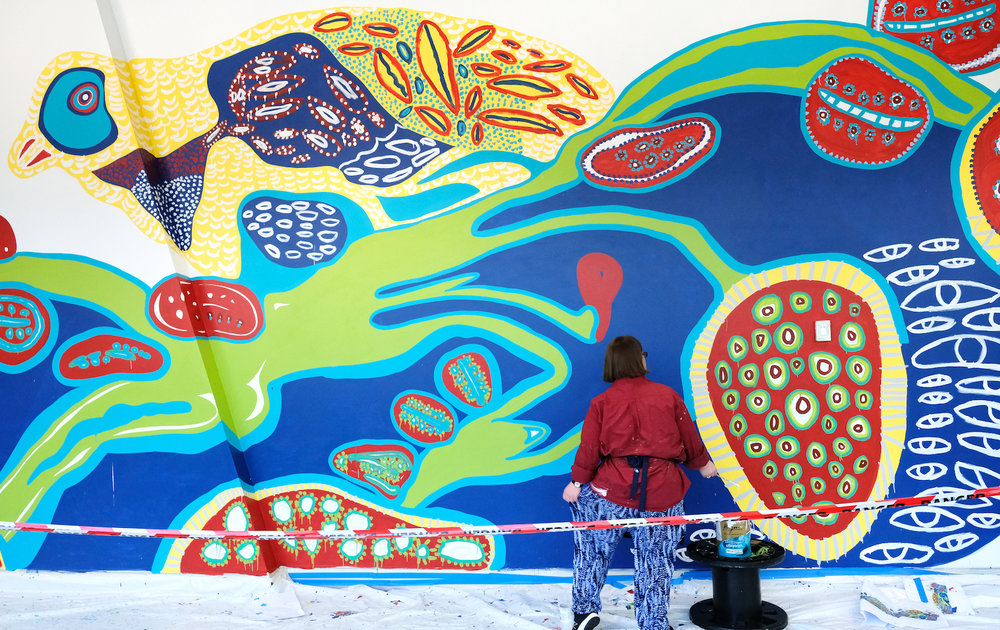 Emily Crockford's 39 metre long mural for Westpac Concord was completed in October 2018.