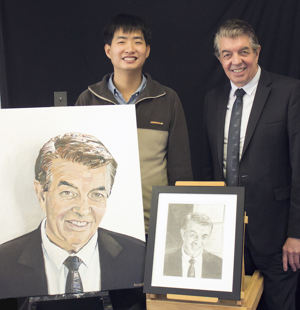 Daniel Kim , commissioned portrait of the Hon. Ray Williams MP, Federal Minister for Disability Services, 2017, oil paint on canvas.