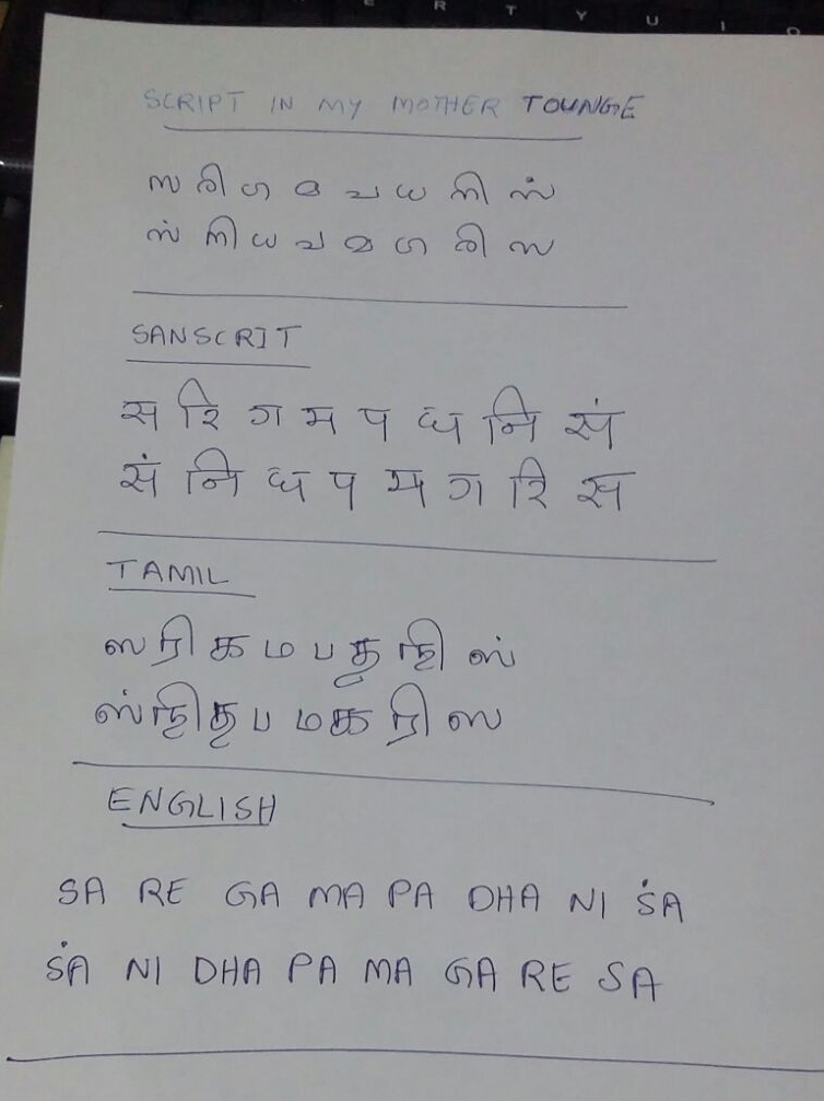 An example of the notation used in classical Indian music. Lazar's mother tongue is Malayalam, but he picked up Tamil quite quickly after coming to Singapore.