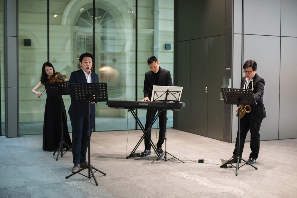 Performed by Tze Toh (piano), Teo Boon Chye (sax), Jonathan Charles Tay (tenor) and May Loh (viola). Photo courtesy of Asian Civilizations Museum  More photos  here .