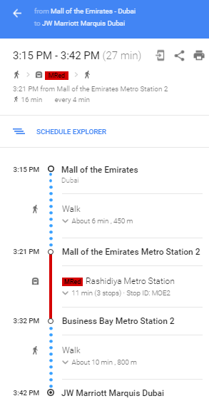 Use Google Maps to plan your ride with Dubai Metro