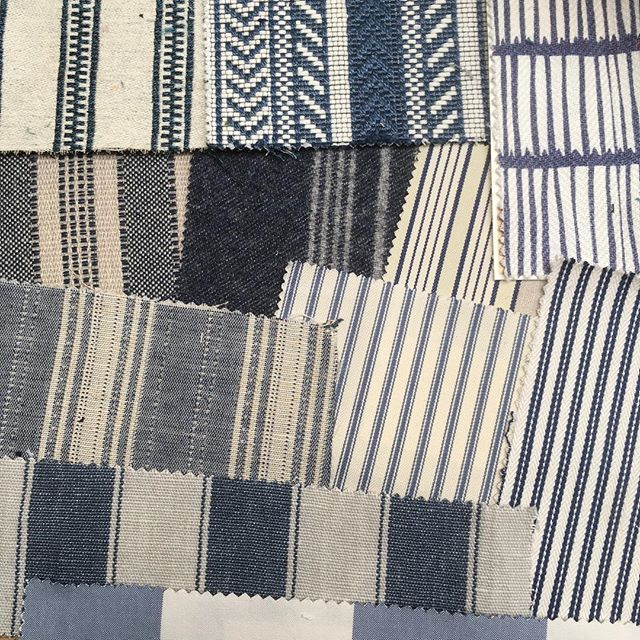 Clue's in the picture. Sourcing blue and white stripes. Just a small selection, love this combo. #blueandwhitedecor #upholstery #fabrics #sourcing #stripefabric #bluefabric