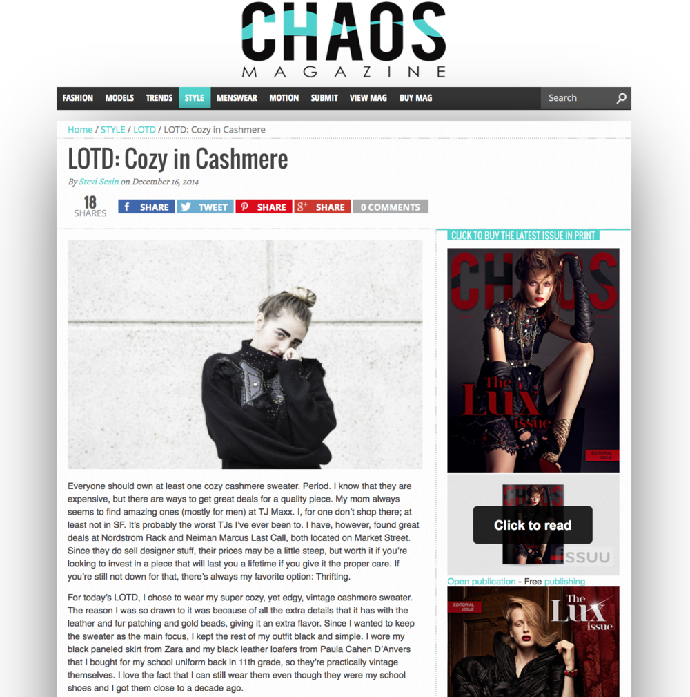 Chaos Mag: Cozy in Cashmere