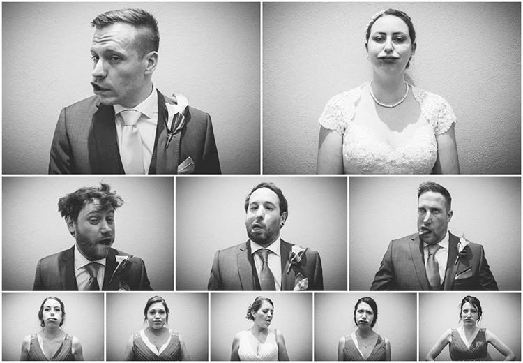 Because 'standard' #bridalparty group shots can be dull ;-) #weddingphotography #VSCO #faces #groom #bride #bridesmaids #groomsmen #mono (at Yeti Photography)