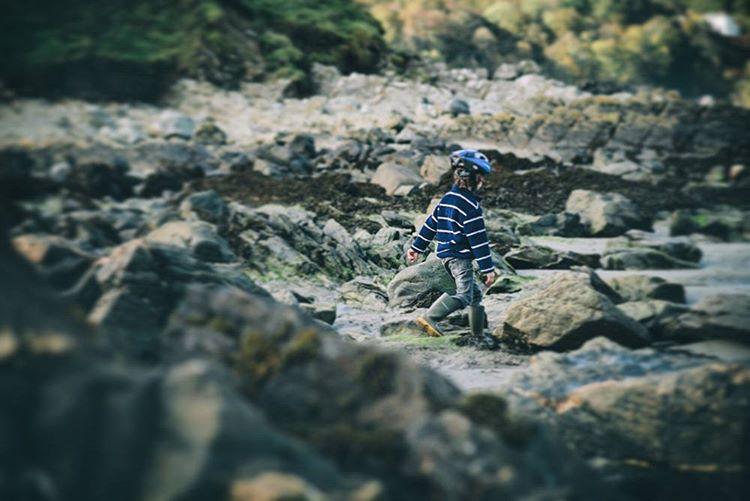 George #exploring #rockpool #Wales #beach #family #VSCO