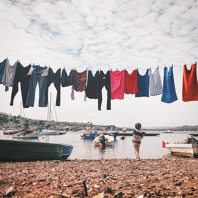 #VSCOcam #VSCO #teignmouth #beach #boat #sky #river #son #washing #washingline