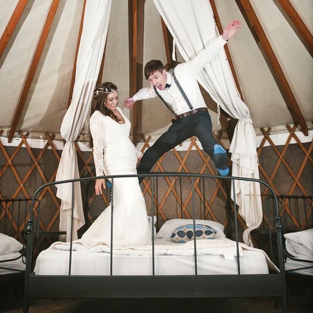 #VSCO #weddingphotography #love #bedbounce #yurt #groom #bride #Devon #yurtcamp #nikon #jump
