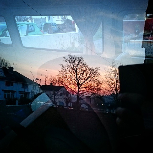 Sunset reflection in the bus :-)