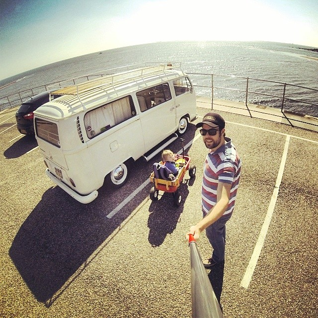 Me and the boy out for a cruise and a stroll :-) Come back soon Summer!! #bus #vwbus #earlybay #radioflyer #volkswagen #sea #teignmouth #Devon #gopro3