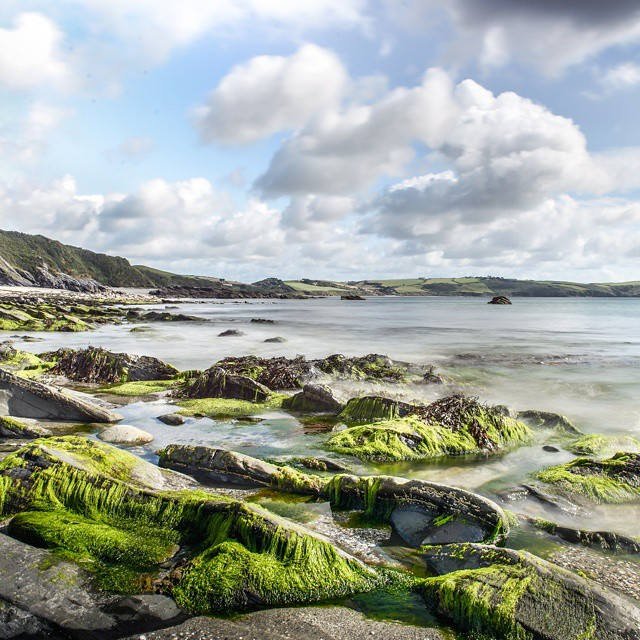 Private beach of The Driftwood Hotel nr Portscatho, #Cornwall. Stayed here last year for The Wife's bday, lovely! #beach #landscape #seaweed #dramaticsky #vista #ocean