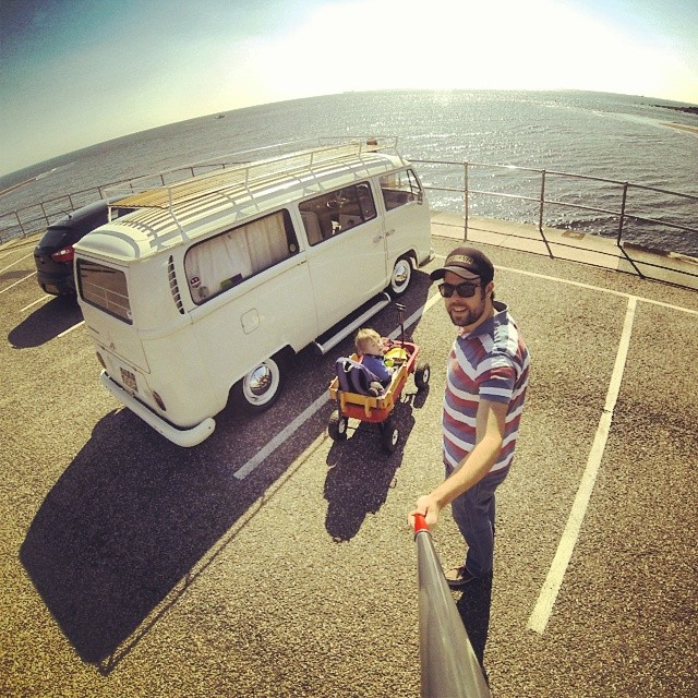 Trip to the beach with squiglet no2, dug out the #radioflyer from storage too! #Vw #campervan #Hayburner