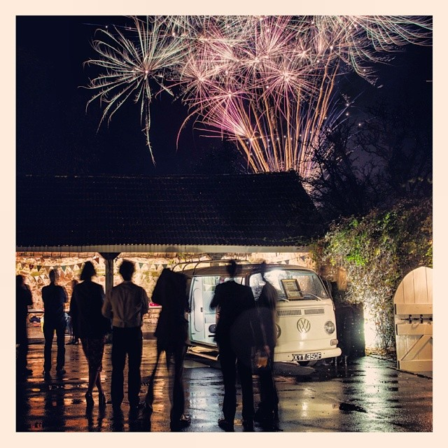 #Vw #campervan #photobooth at a wedding. www.facebook.com/photobusbooth #fireworks #vintage #Volkswagen #bay #earlybay #kombi