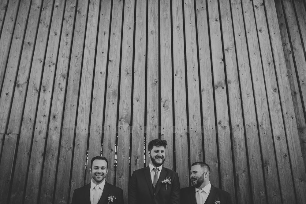 black and white wedding photo groom and bestmen oldwalls gower wedding