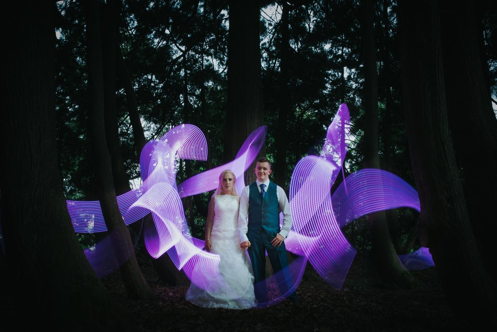 creative wedding photo lightstick huntsham court wedding