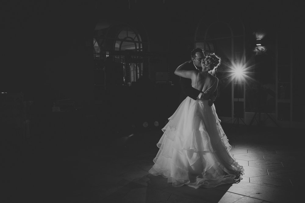 black and white first dance photo deer park wedding