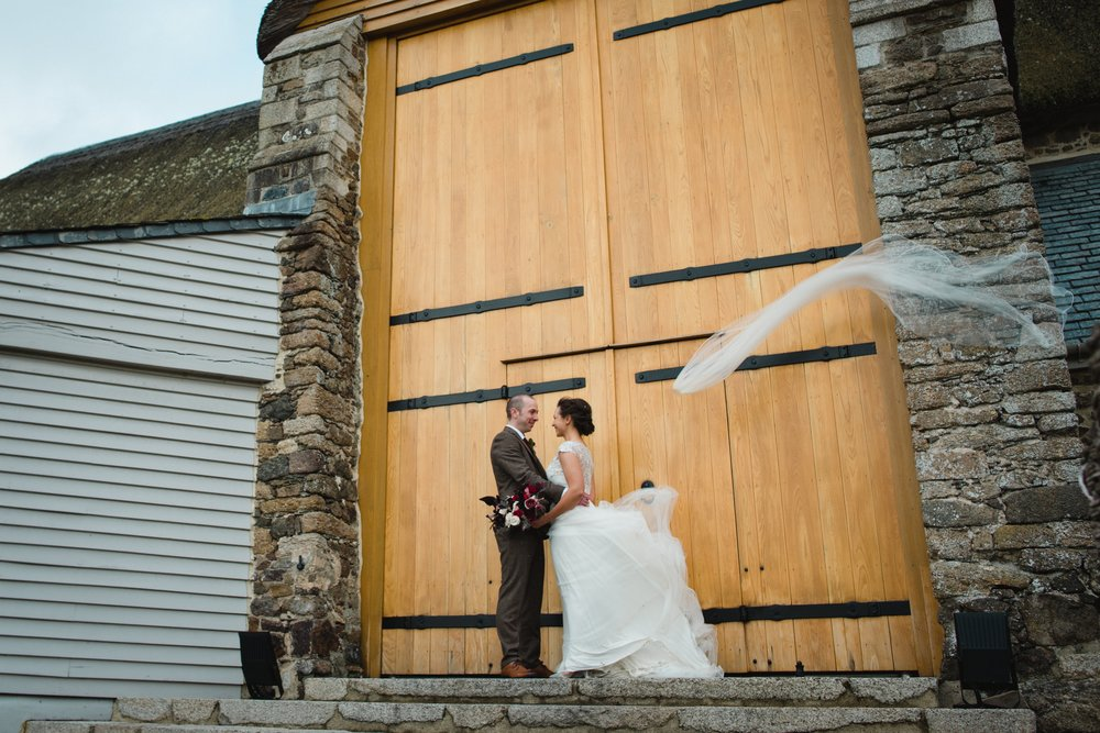 great barn wedding photo windy veil
