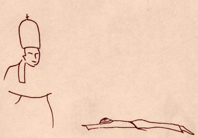 Religieux rampant devant son chef