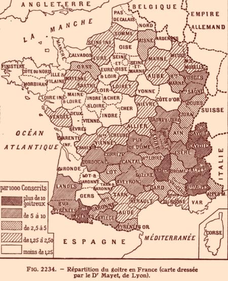 Fréquence du goître dans la France du XIX iéme siècle