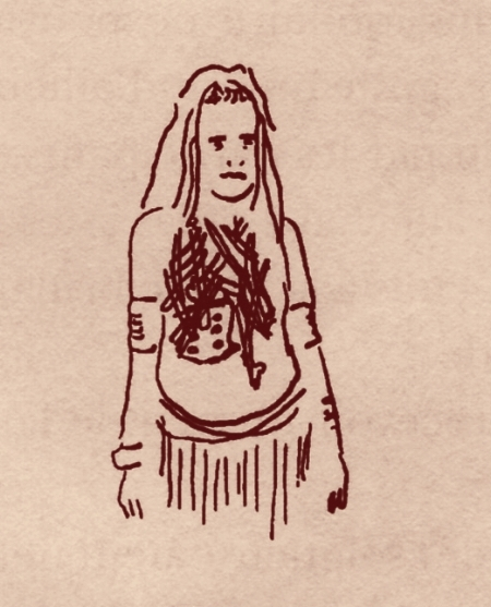 Femme de Papouasie portant le deuil de son mari (ses ossements).  On reconnaît le sacrum. Au temps des Romains, cet os était ainsi nommé, sacré,car on supposait qu'il soutenait les entrailles offertes en sacrifice aux Dieux.