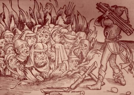 Des fosses étaient creusées, et les juifs y étaient précipités sur des bûchers