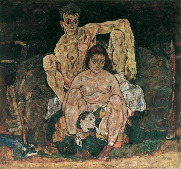 Le dernier tableau d' Egon Schiele, représentant sa femme et son enfant qui allait naître, emportés par la grippe Espagnole.