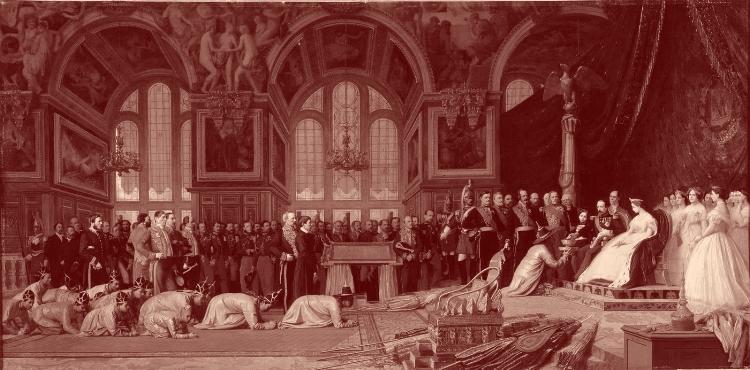 Ambassadeurs du Siam rampant devant Napoléon III