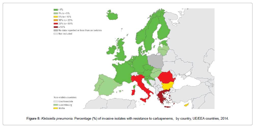 En Grèce par exemple, plus de la moitié des Klebsielles hospitalières sont devenues résistantes aux antibiotiques les plus sophistiqués. Cette résistance est encore rarement observable dans d'autres pays comme la France, grâce à des politiques hospitalières pertinentes. Mais implaquablement elle évolue.