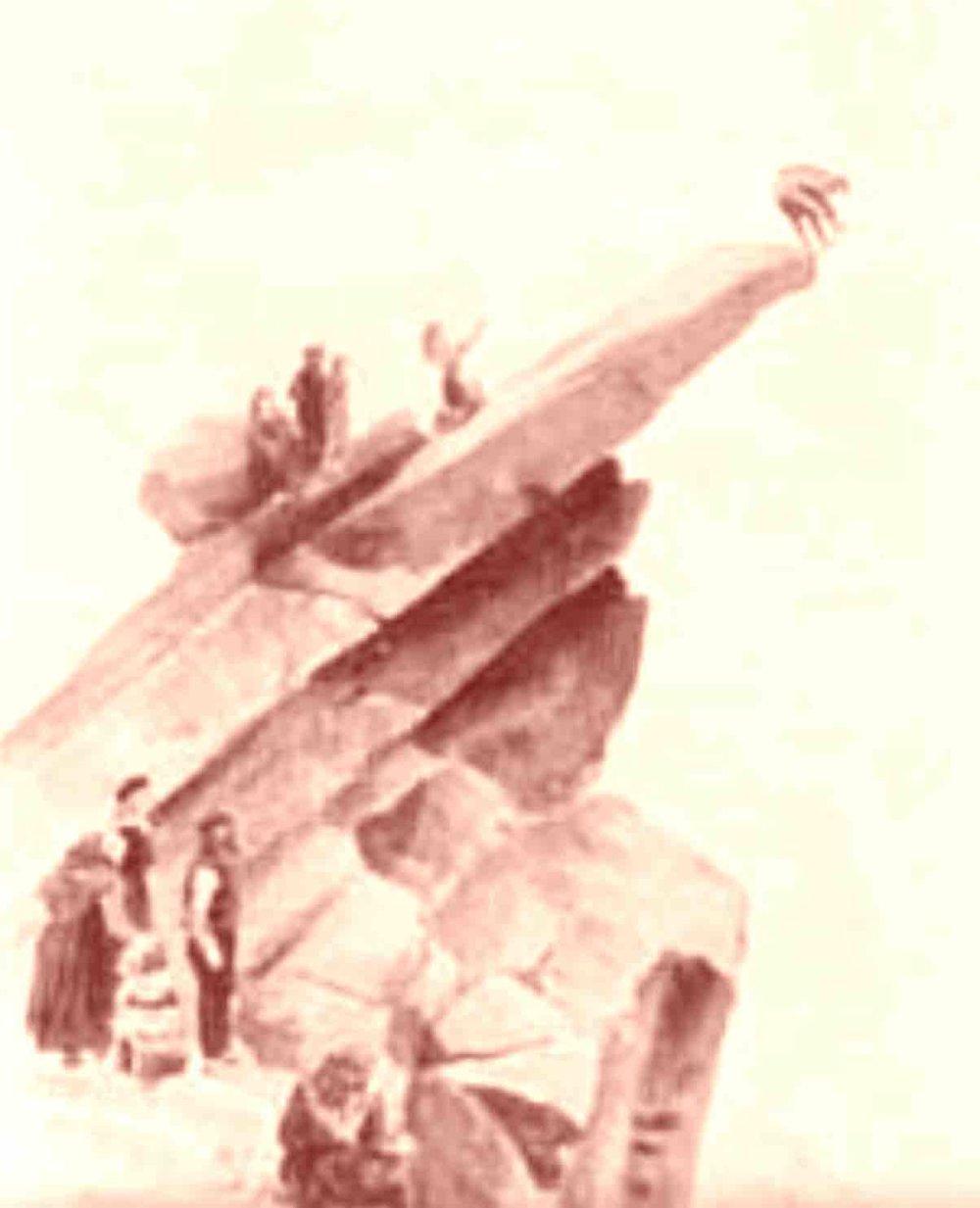 """Le rapprochement sexuel chez les habitants de Saint-Kilda : tenir sur une jambe en haut de la """"Mistress Stone"""" , le rocher de l amour en quelque sorte."""