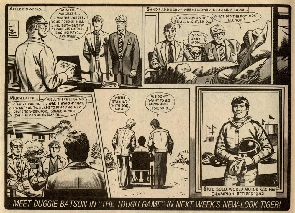 Skid Solo (from Tiger 1 May 1982): Fred Baker (writer), John Vernon (artist)
