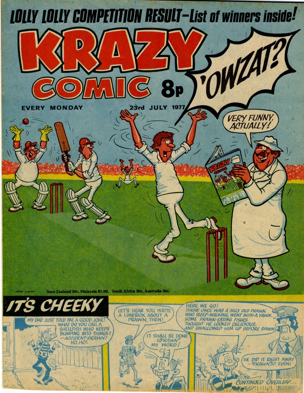 Cover artwork: Mike Lacey ('Owzat?) and Frank McDiarmid (It's Cheeky)