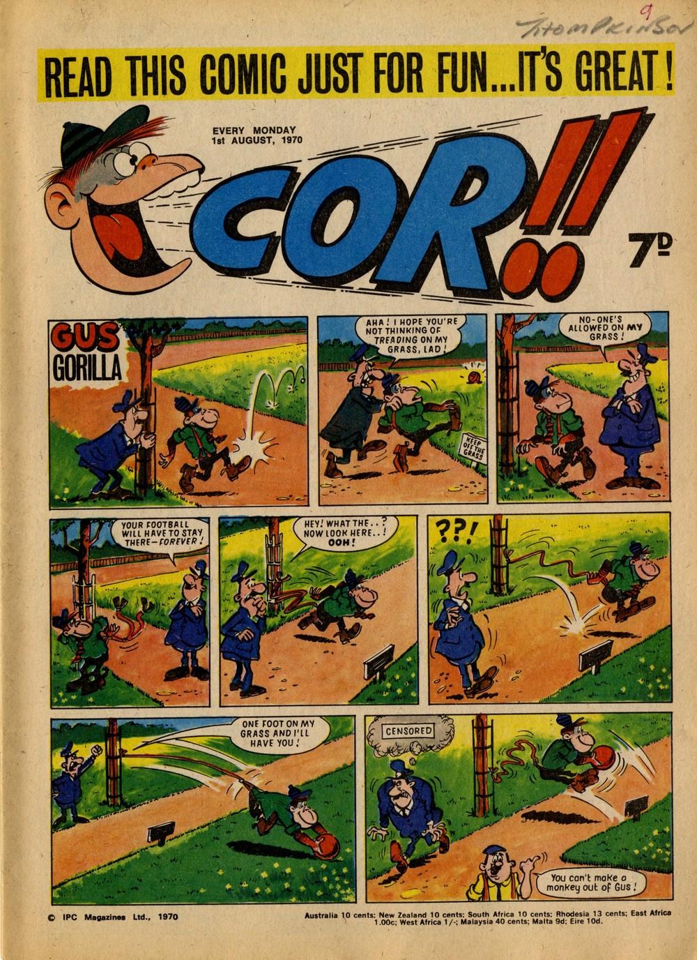 1 August 1970: Cor!! (Gus Gorilla: Alf Saporito (artist))