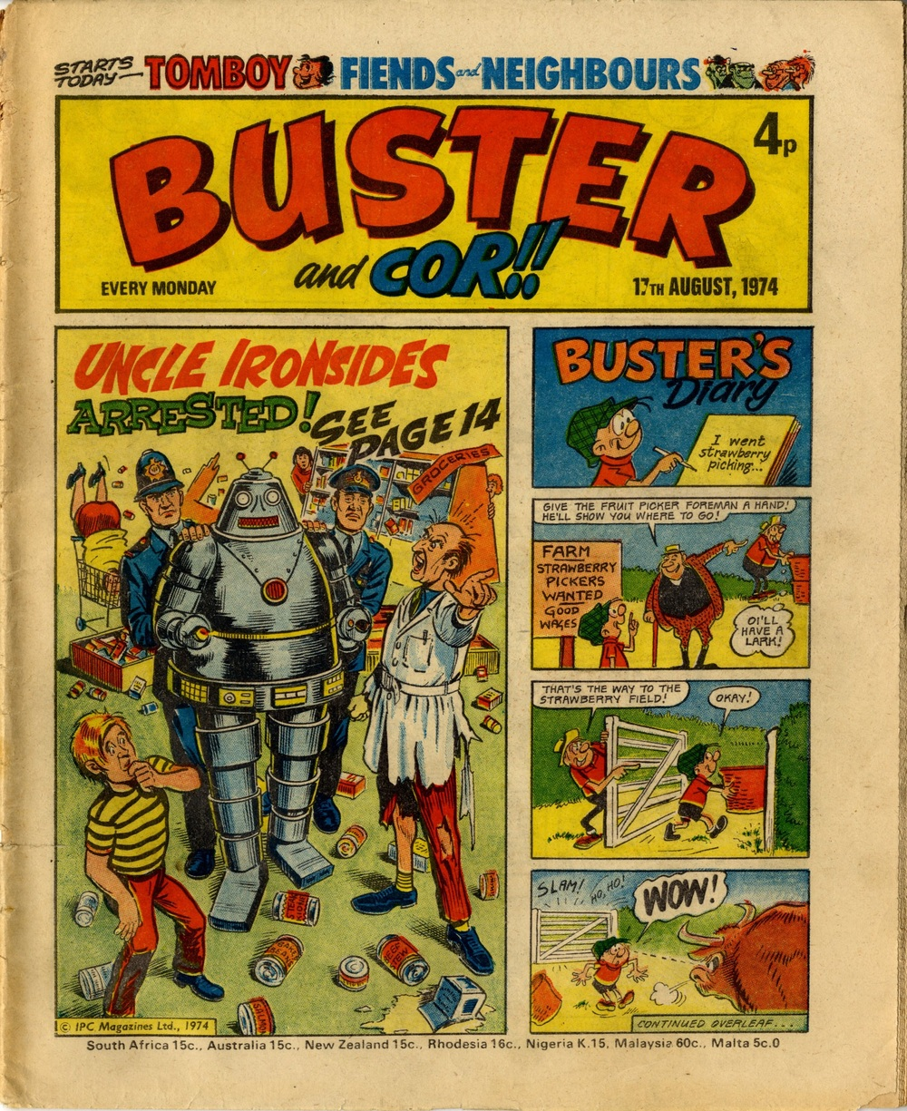 17 August 1974: Buster and Cor!! (Uncle Ironsides: Doug Maxted (artist), Buster's Diary: Reg Parlett (artist))