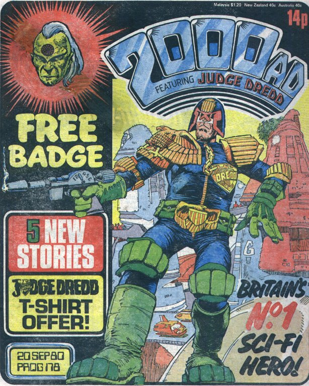 Prog 178 of 2000AD (Judge Dredd by Mike McMahon): the relaunch issue which, under Steve's editorship, symbolised the comic's development into an iconic market-leader