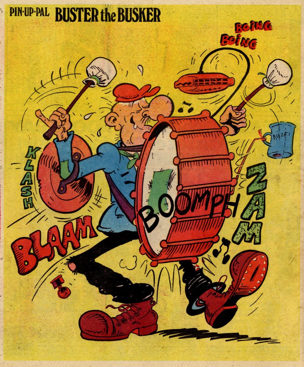 Pin-up Pal: Buster the Busker (artist Frank McDiarmid), 25 March 1978