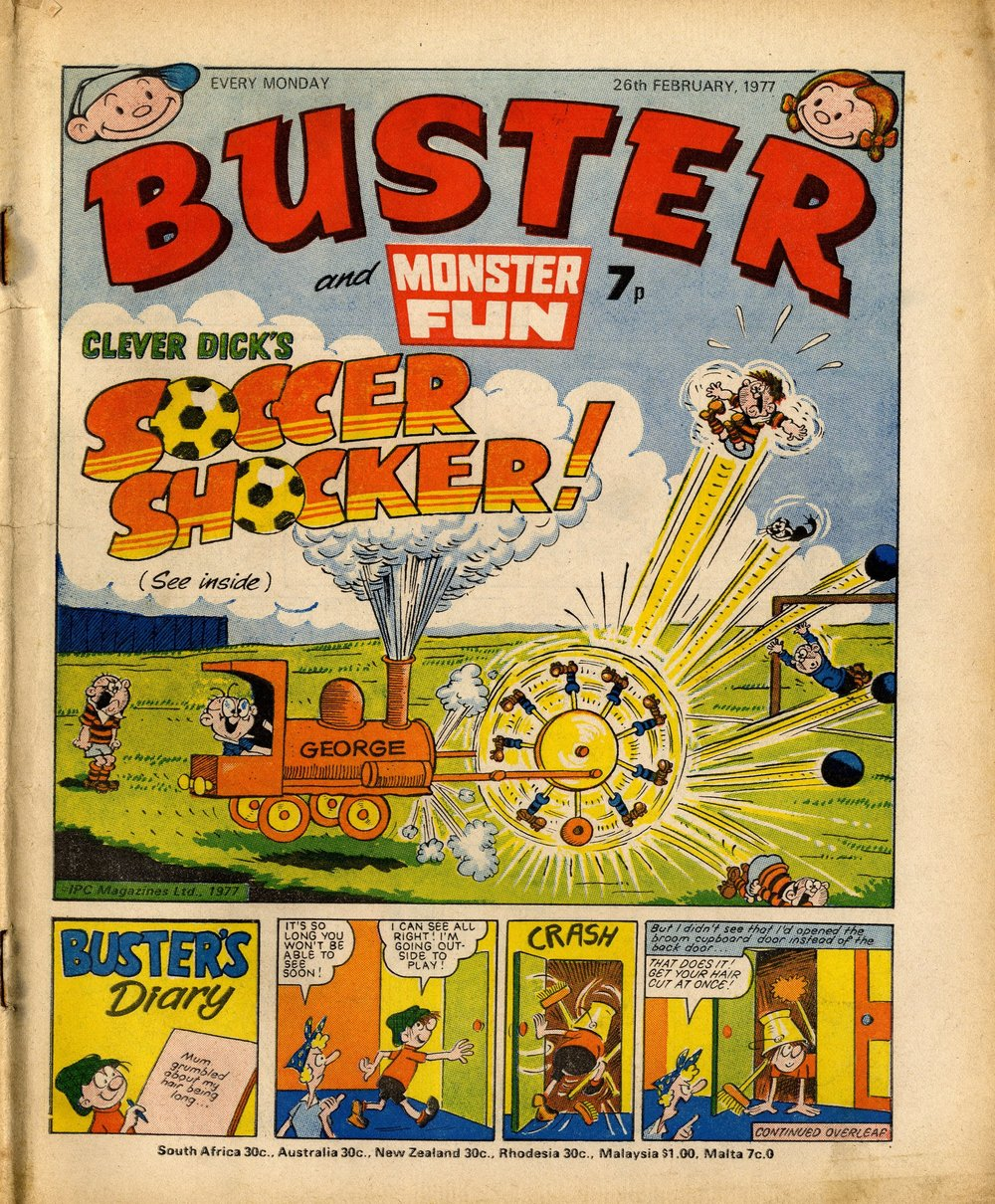 Buster cover artwork: Leo Baxendale (Clever Dick), Reg Parlett (Buster's Diary)