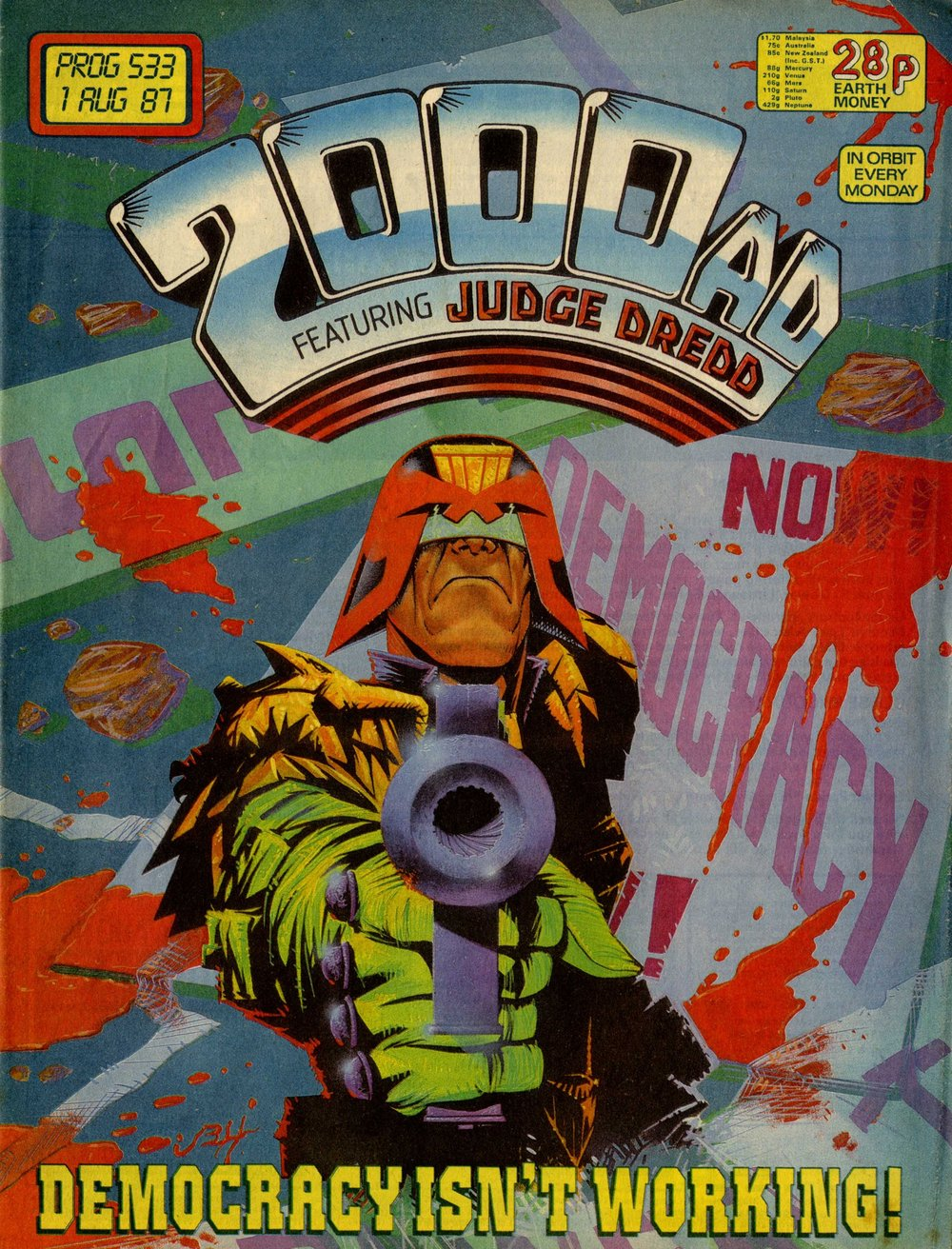 Judge Dredd, drawn by John Higgins