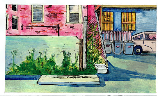 "Favored Parking Block #1,  mixed media on paper, 8"" x 12"""