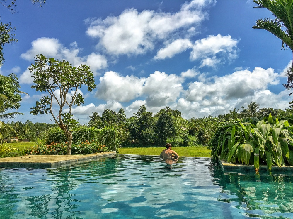 Me relaxing in the pool looking out over the paddy fields 🌴🏊🏼