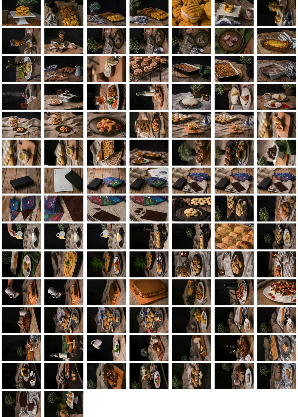 A sample contact sheet of some of the photographs used in the cookbook.