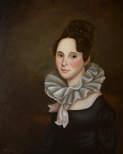 Reproduction oil painting of a 19th century woman named Charlotte