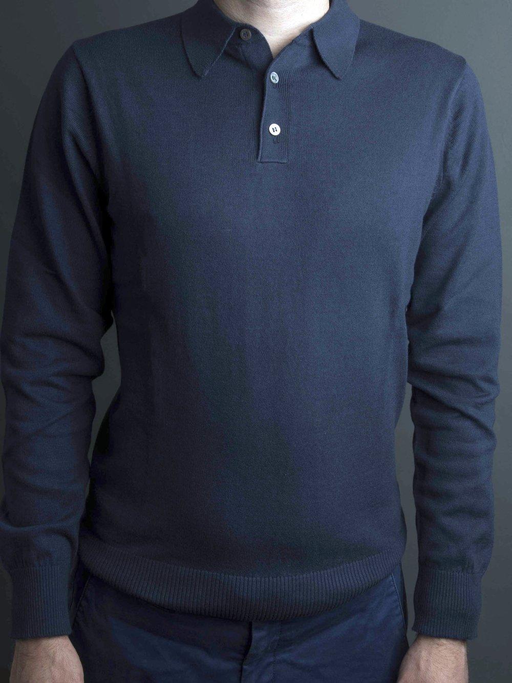 Man's blue Franco Ponti sweater with collar.jpg