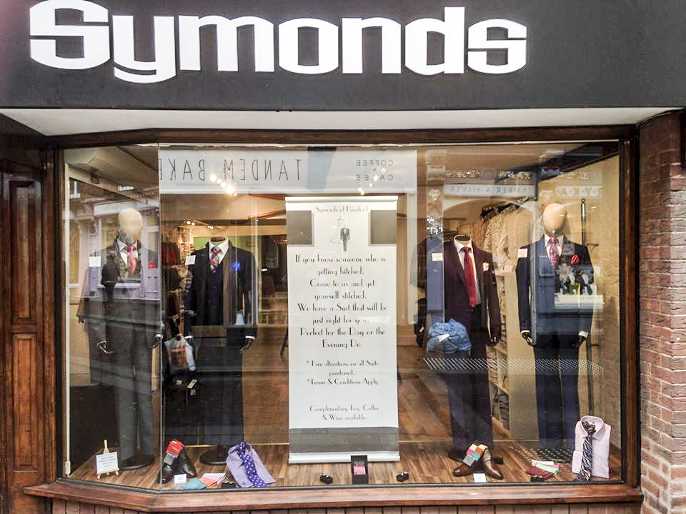 Symonds of Hereford Menswear Wedding Window
