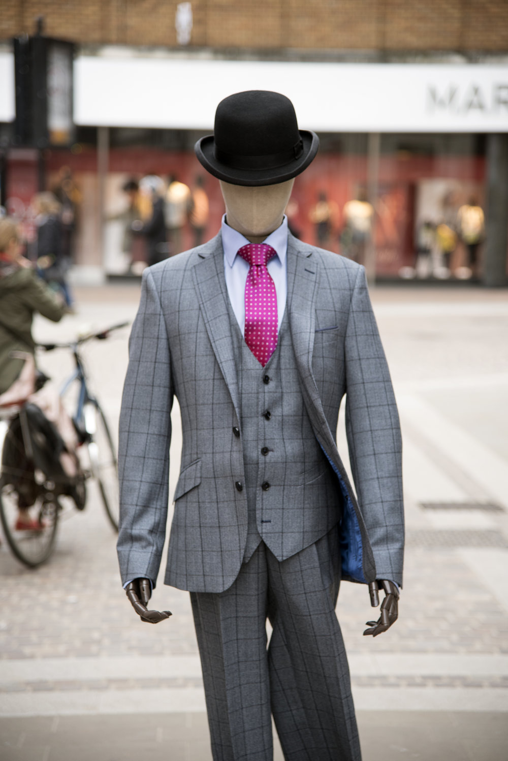 Shop dummy in grey suit with pink tie in Hereford 2.jpg