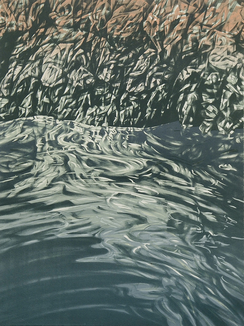 Tuross Falls, lithograph, 61cm x 45.5cm, 2015, edition of 10 (printed at Lancaster Press)