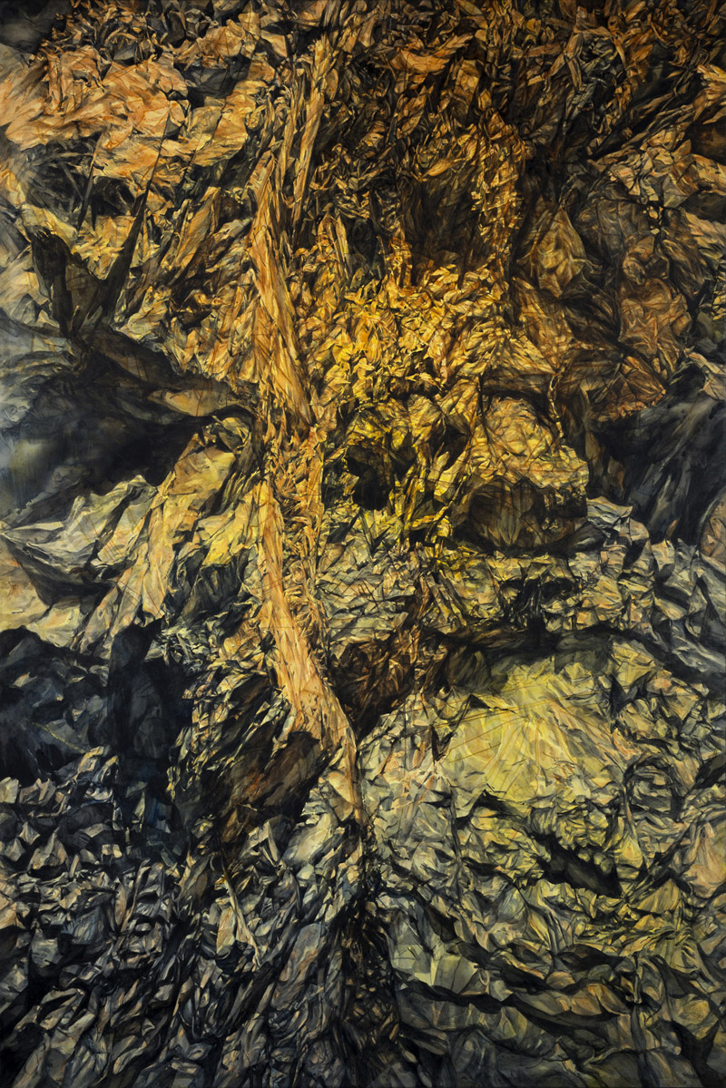 Anisclo Canyon, watercolour on paper, 150cm x 100cm, 2012 (Photo by Dean Butters)
