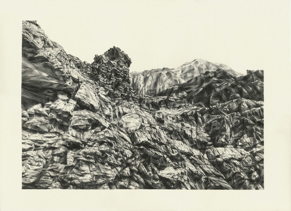 Canyon Wall II, lithograph, 38 x 51 cm, edition of 15, 2013.