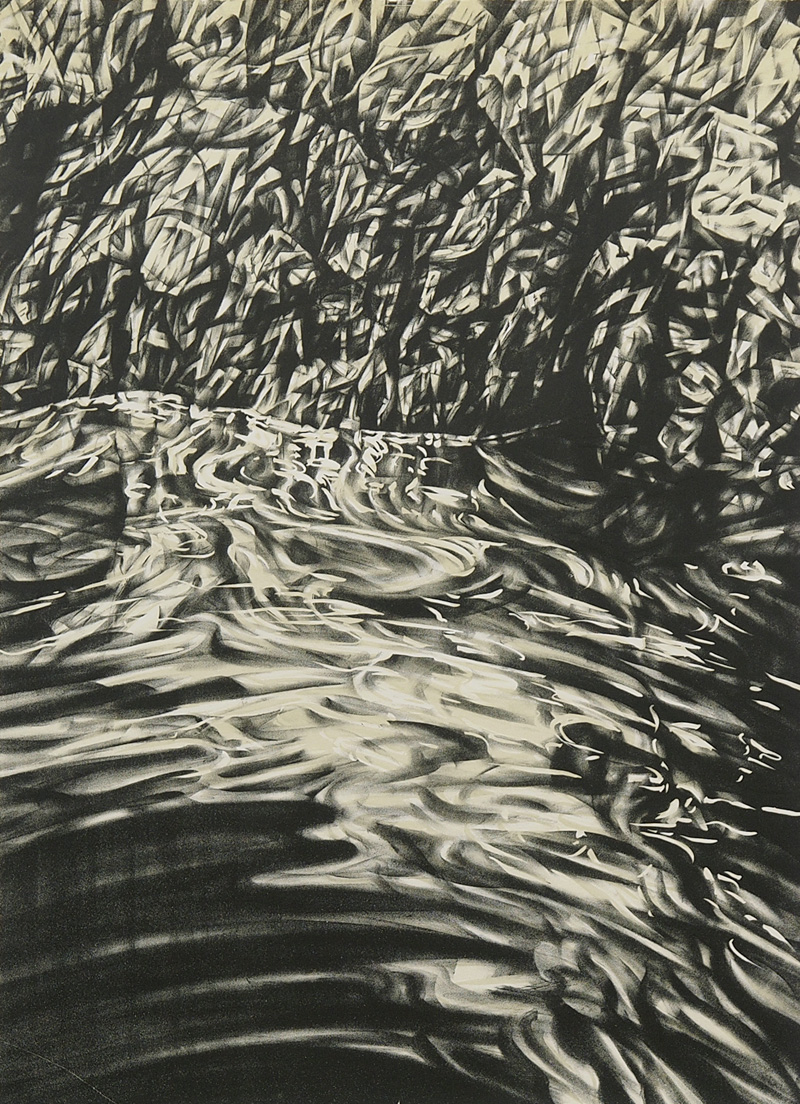 Tuross Falls II, lithograph, 61cm x 45.5cm, 2015, edition of 4 (printed at Lancaster Press)