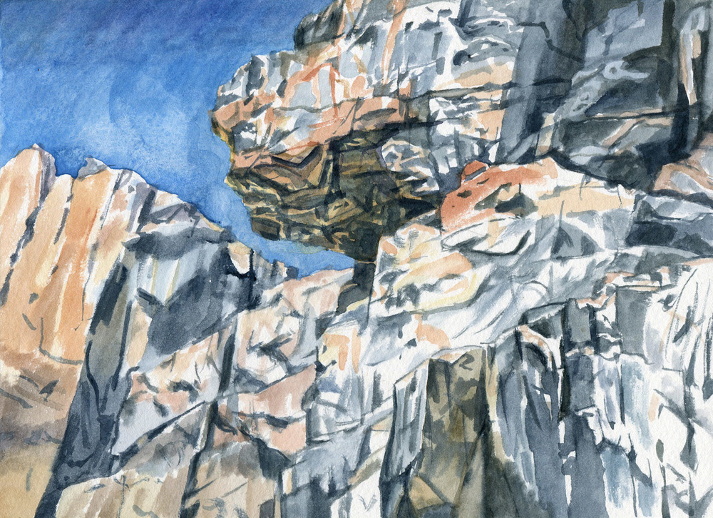 Field Studies (Red Rocks Gorge, Murrumbidgee River 1), watercolour on paper, 18cm x 25cm, 2014